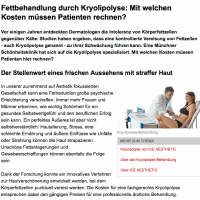 Fettbehandlung durch Kryolipolyse: Mit welchen Kosten müssen Patienten rechnen?